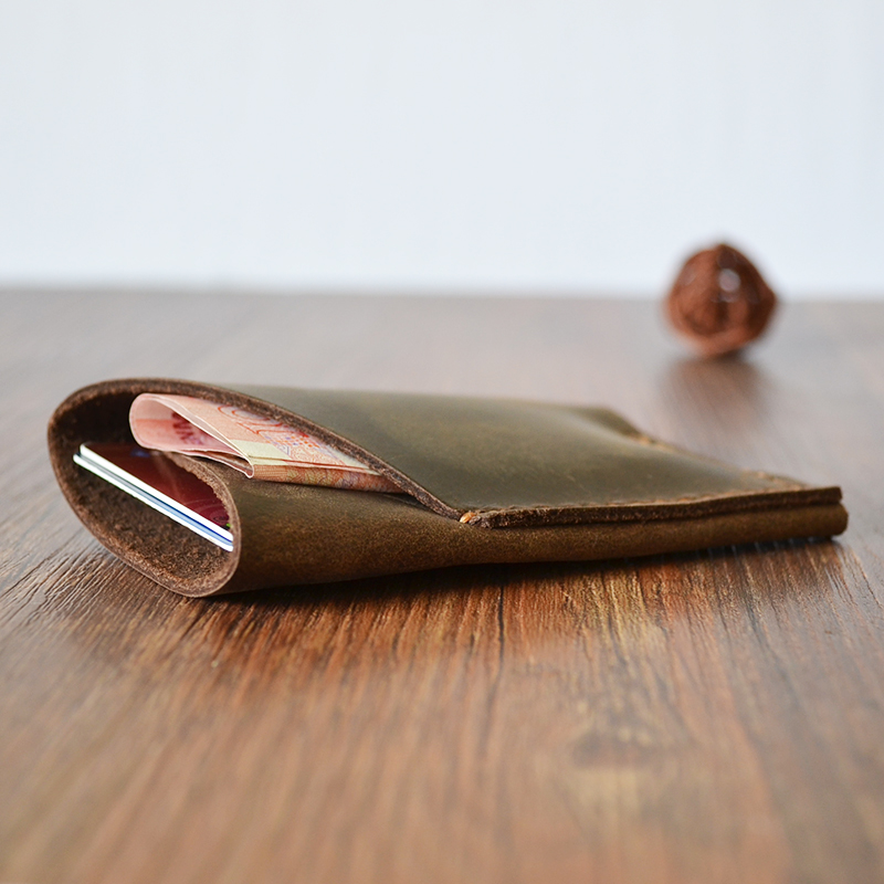 Genuine Leather Handmade mens double-layer retro cow leather purse pocket pocket pocket Mini Wallet simple personality