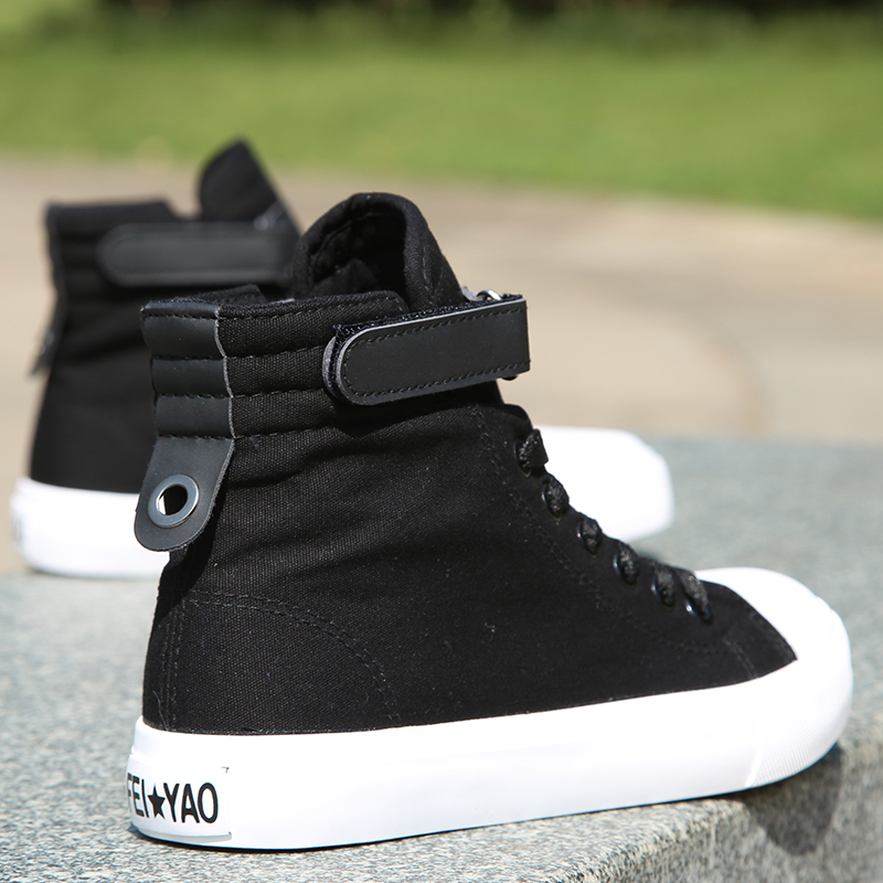 Spring high top black canvas shoes women flat bottomed versatile fashion Korean student Velcro casual shoes breathable board shoes