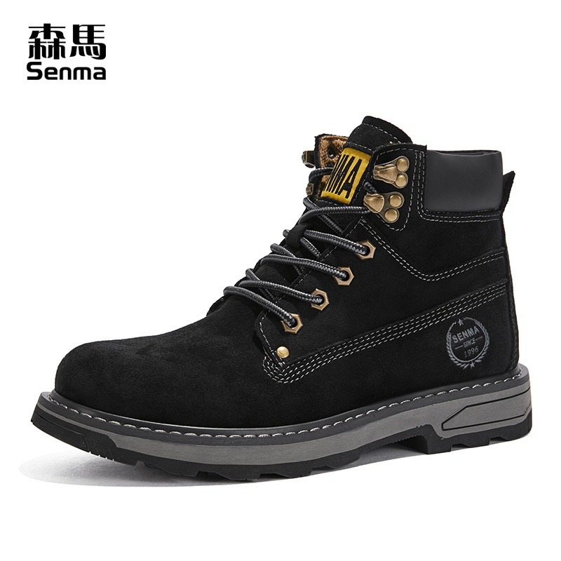 Senmagao help Martin boots men's new 2019 winter Plush British style medium help outdoor work clothes shoes rhubarb boots
