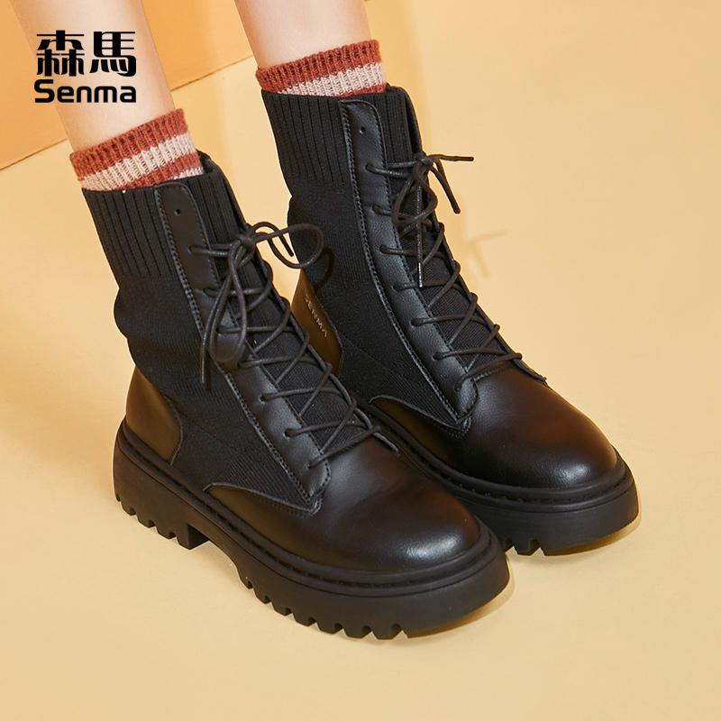 森马靴子女冬季薄款棉鞋高帮中筒马丁靴女英伦风厚底加绒保暖短靴