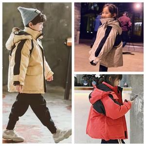 儿童装冬中性男童羽绒服韩国拼色