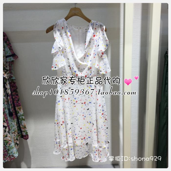 速发 ROEM 18年夏正品国内代购荷叶边连衣裙 RCOW82520T OW82520T