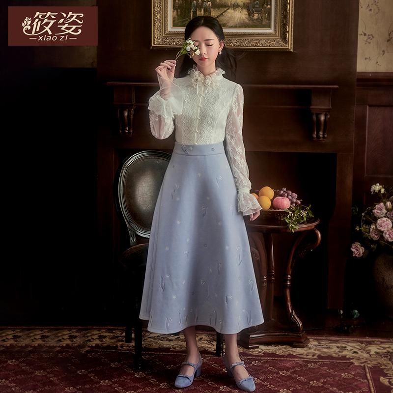 筱姿服饰 秋季新款女装复古绣花半身裙修身气质收腰中长裙