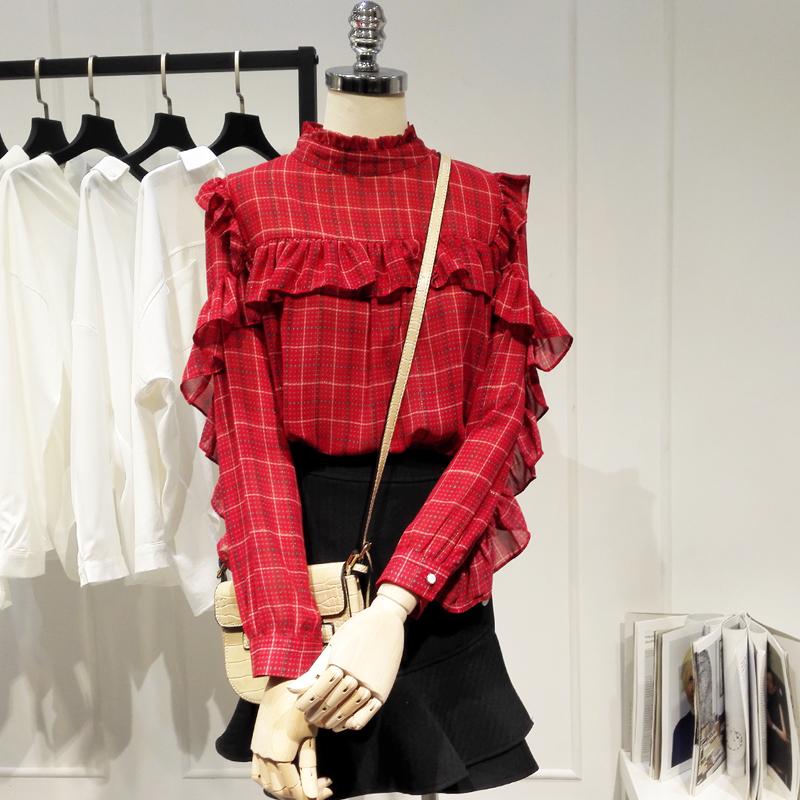 很仙的上衣洋气衬衫2019秋韩版设计感小众立领格子雪纺衬衣女A057热销125件买三送一