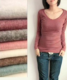 Dongkuan Korean wild Slim V neck long sleeved T shirt elastic hip female sanding shirt