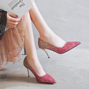 婚鞋女2020新款结婚鞋子新娘鞋高跟31小码单鞋32 33大码女鞋41-43
