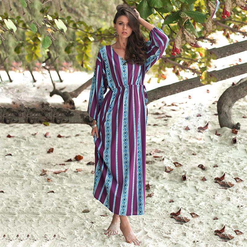 大码热销2019春季新款连衣裙系带腰印花紫色长袖长款连衣裙女装