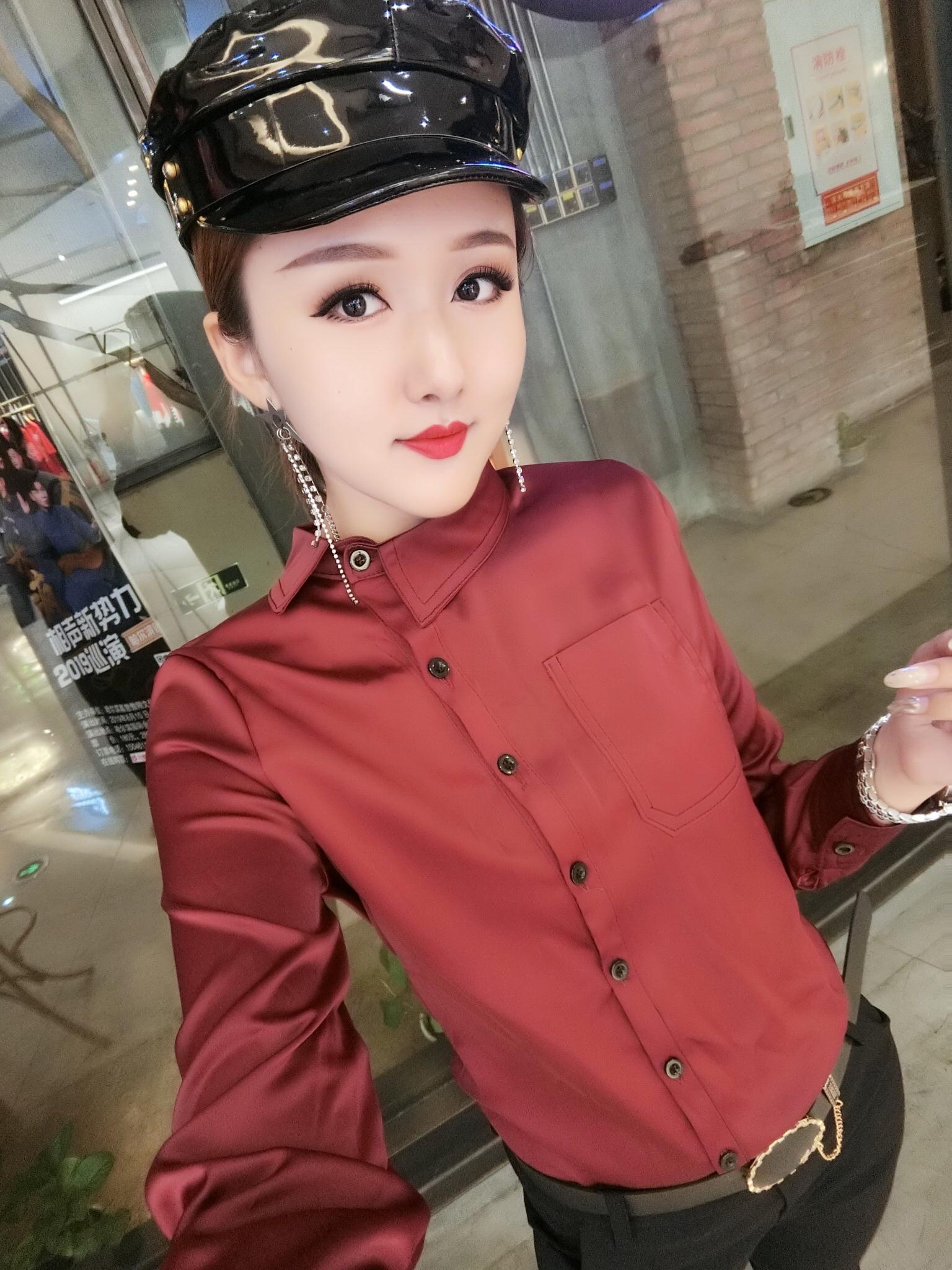 女式真丝衬衣长袖新款创意上衣2019韩版时尚修身洋气女装百搭精品