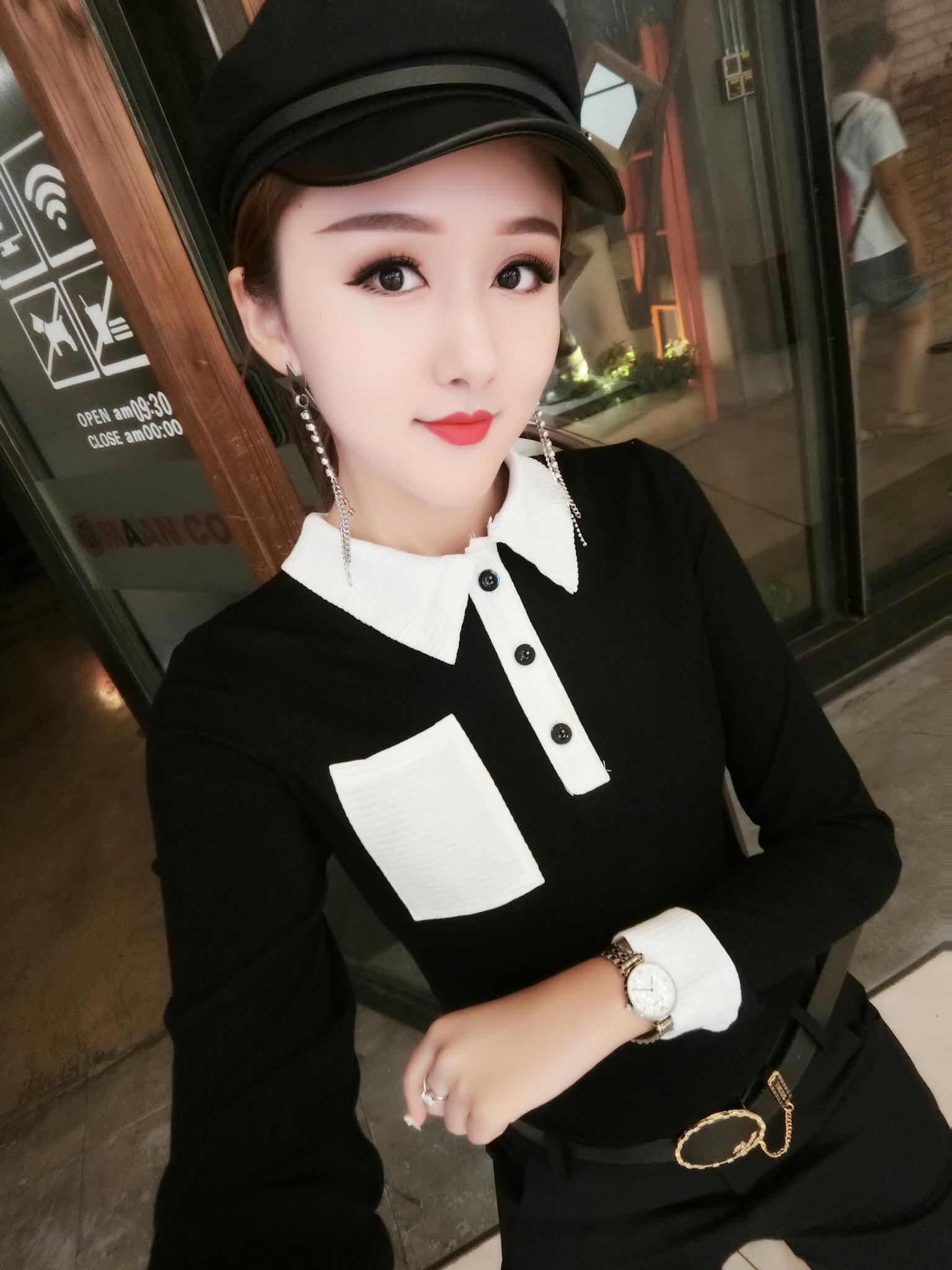 2019秋装新款t恤女修身显瘦翻领小衫韩版时尚百搭洋气打底衫精品
