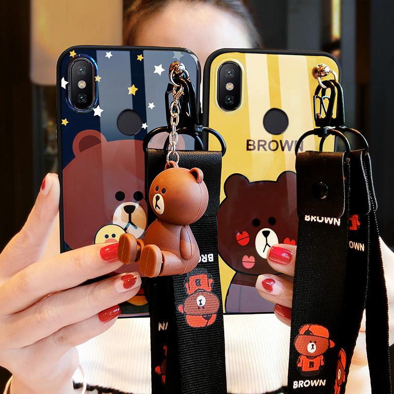 小米8手机壳女小米6x蓝光小米note3硅胶小米8se防摔小米6新款卡通可爱熊个性创意情侣潮牌仙女网红挂绳保护套