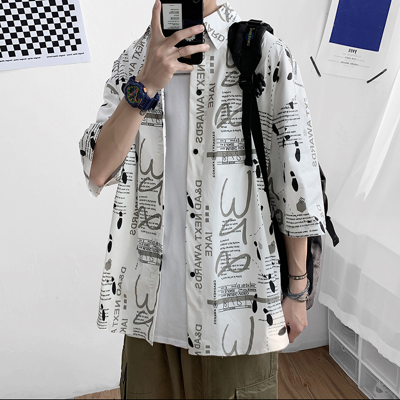 Hong Kong Style 5 / 4 sleeve printed shirt summer loose BF style plus plus size fashion letter pattern half sleeve shirt
