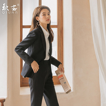 Formal women's suit, autumn and winter 2019, new fashion style, college students' interview, black suit, teachers' professional suit
