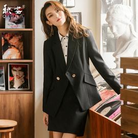 黑色西装女套装气质正装套装面试职业套裙2020秋季新款工作服修身图片