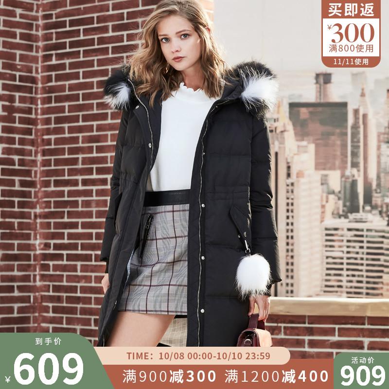 [聚]ONLY秋冬新款女装新款毛领抽绳连帽长款羽绒服女118312576满900元可用300元优惠券