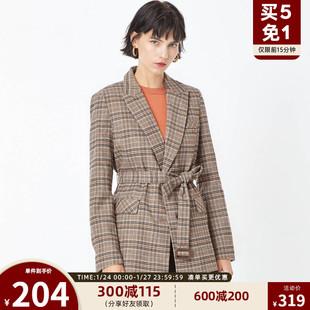 绫致ONLY2019冬季新款复古格子收腰西装休闲外套女 119308545