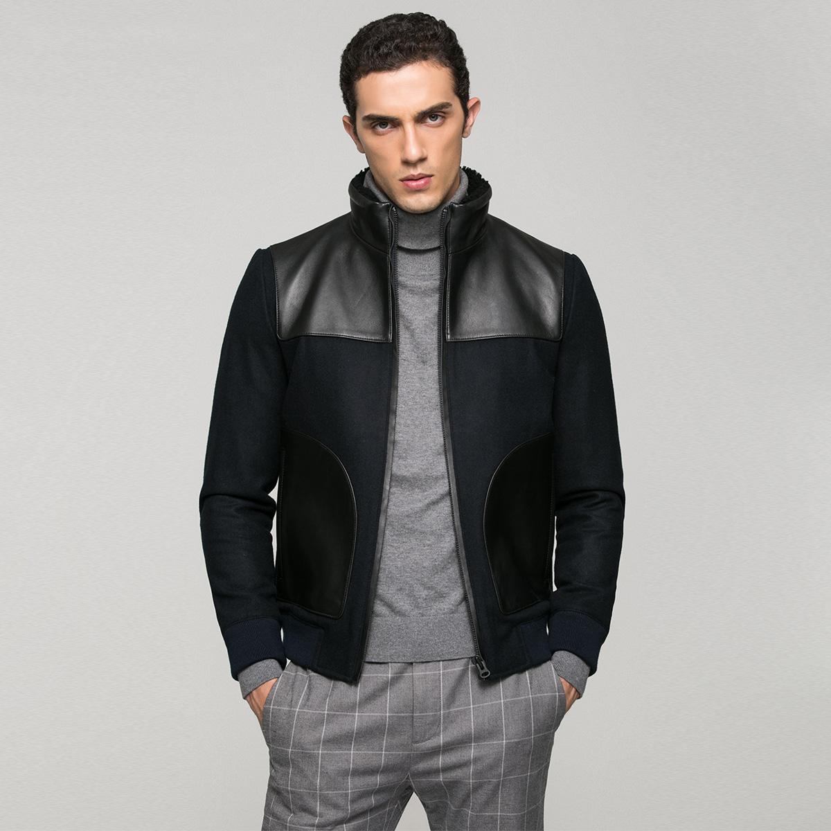 JackJones джек агат этот чистая овечья мех мужской одежды локомотив куртка S|216410504