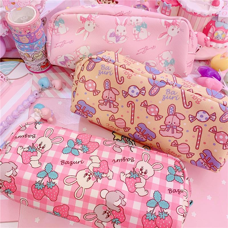 日式卡哇伊兔兔草莓袋中小学生笔袋10月22日最新优惠