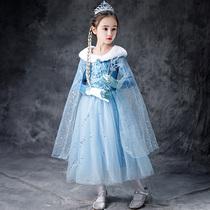 冰雪奇缘爱莎公主裙加绒加厚秋冬季女童长袖儿童连衣裙艾莎裙子2