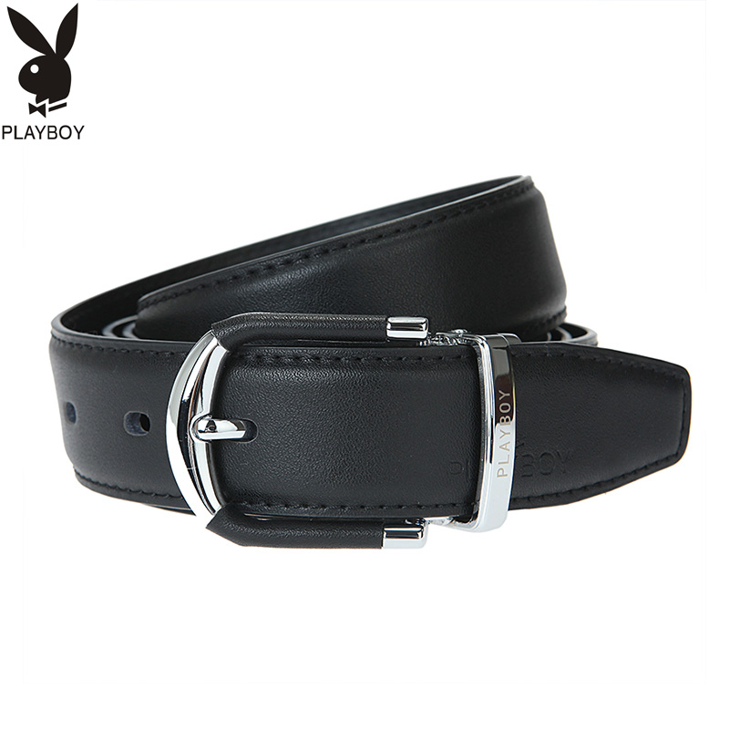 Playboy womens pure leather belt womens simple leisure needle buckle belt wide real leather pants belt mens soft leather thin