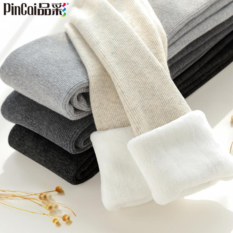 灰色螺纹秋冬季竖条纹加绒女丝袜