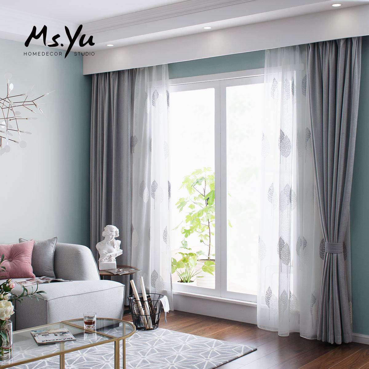 窗帘 北欧莫兰迪飘窗窗帘布 定制卧室客厅窗帘 #喻小姐软装设计室