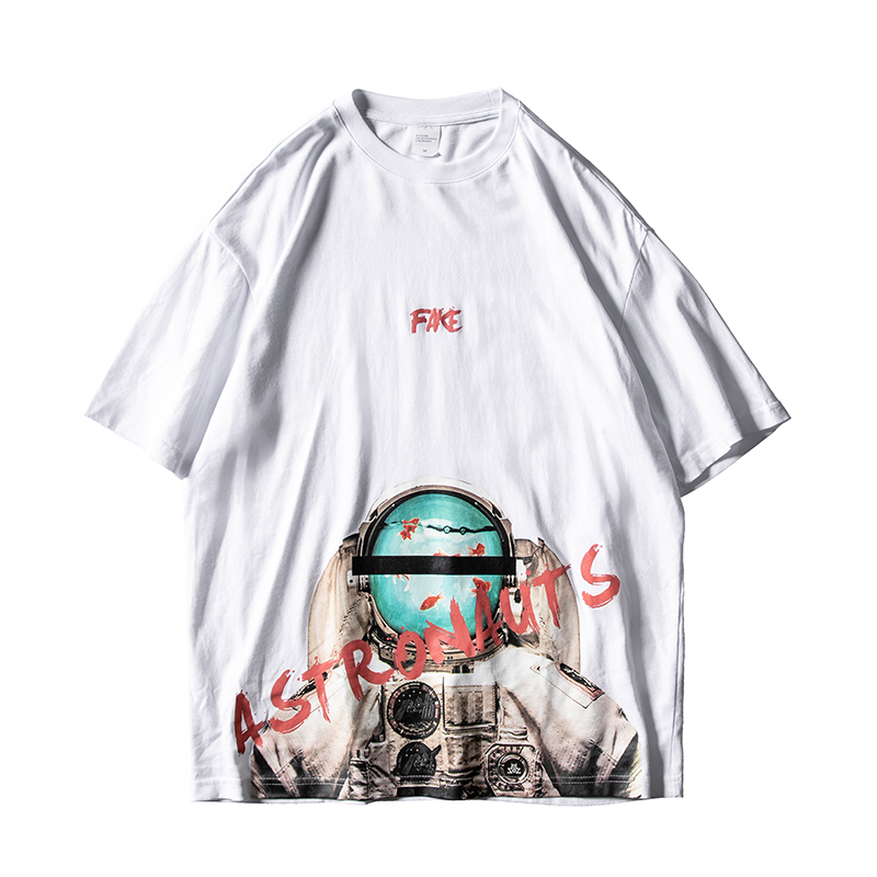 七号宇宙夏季原创潮流底摆宇航员印花OVERSIZE宽松圆领短袖T恤男