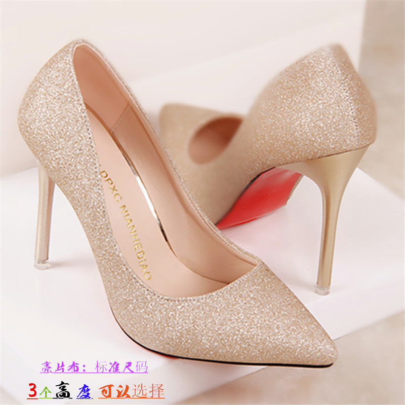 Light colored high heels women's thin heels pointed white dress shoes wedding dress photo single shoes all match wedding shoes women's silver Bridesmaid shoes