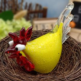 水晶小公鸡母鸡摆件创意琉璃招财鸡年玻璃工艺品家居饰品结婚礼物图片