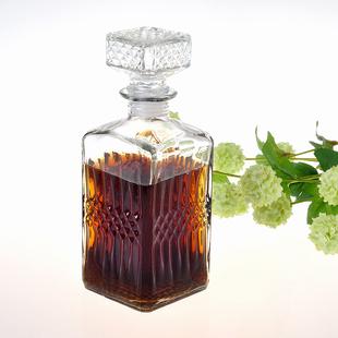 好看的空白存酒瓶无铅玻璃保鲜密封罐储酒方形仿真摆件装饰酒容器