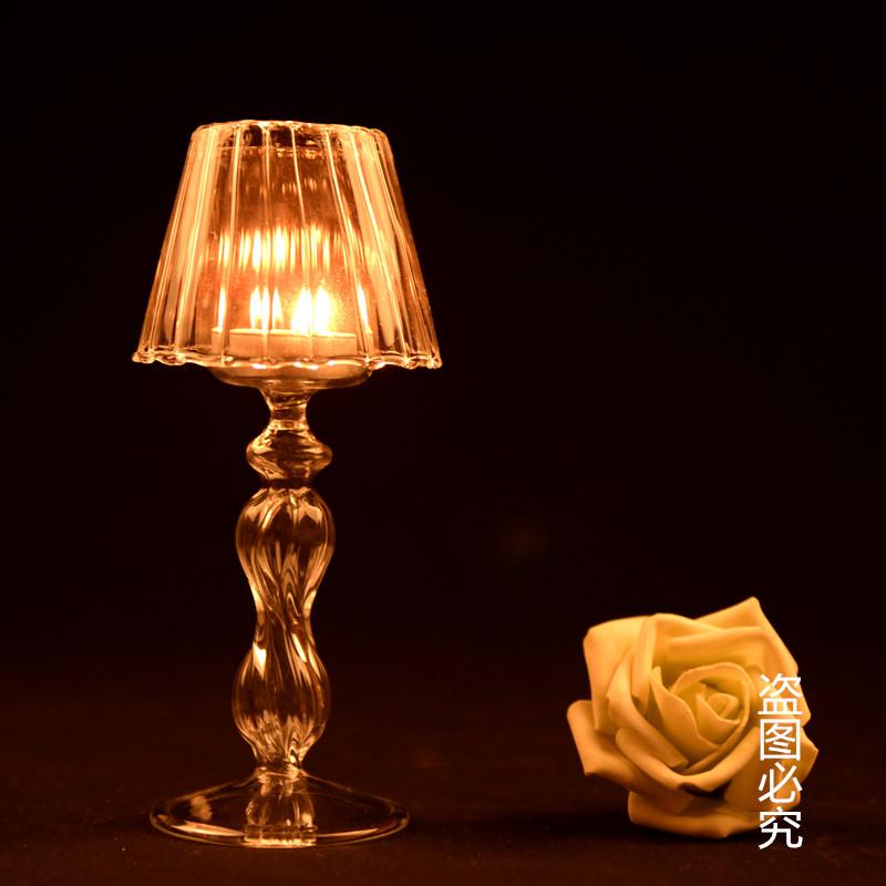 欧式条纹玻璃台灯烛台浪漫家居有取放蜡烛的镊子可以在店铺购买