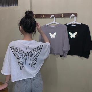 大码女装胖MM2020年夏天新款蝴蝶反光印花短袖T恤高腰学生上衣潮