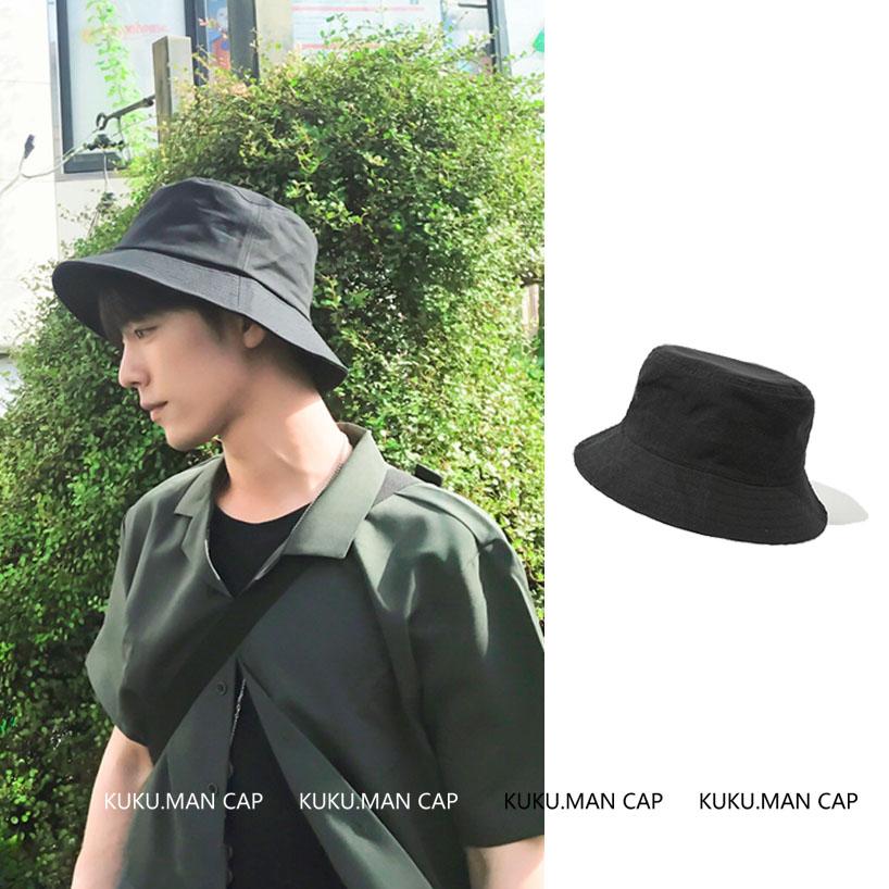 高品质肖战易烊千玺同款黑色渔夫帽日系百搭纯棉男女休闲遮阳盆帽