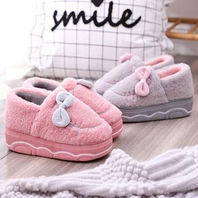 棉拖鞋女包跟厚底可爱蝴蝶结室内月子拖鞋冬保暖高跟家居棉鞋防滑
