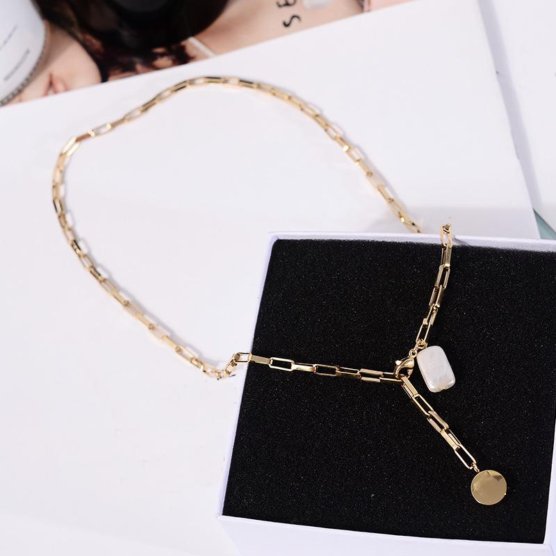 韩国百搭钛钢镀真金珍珠项链女气质可调节锁骨链颈链韩风个性饰品