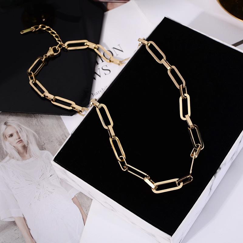 法式粗链条项链女欧美时尚ins博主同款冷淡风钛钢锁骨链配饰品潮