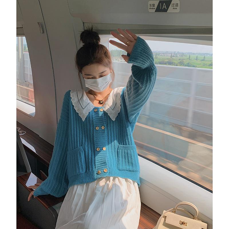 减10】日系可爱娃娃领毛衣外套女春秋宽松慵懒双排扣上衣针织开衫