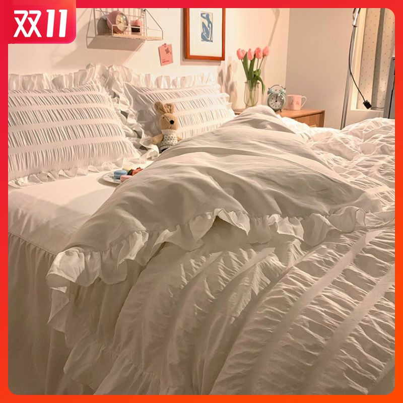 True love mercury home textile official bedding ins Korean Ruffle cream washed cotton four piece set girls heart