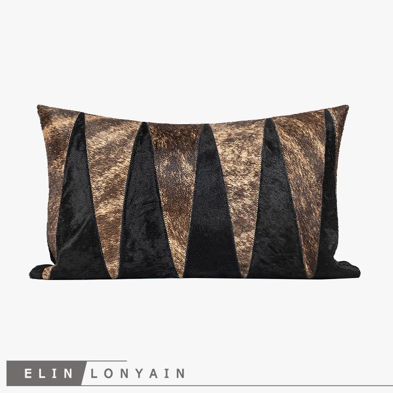 新品现代简约轻奢黑棕色马毛拼接靠垫抱枕别墅样板房腰枕