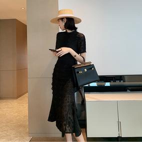 蕾丝复古连衣裙女2020新款韩版长裙