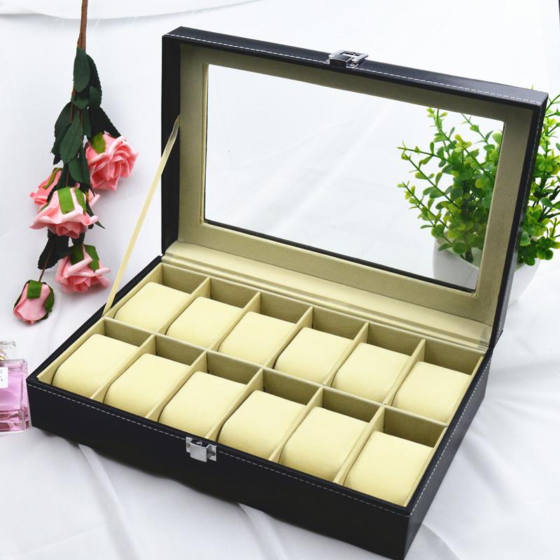 收表箱手表箱玻璃皮革手表箱收纳箱手表包装整理手表盒图片