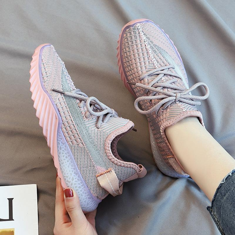 Spring and summer Korean version of flying shoes, female father shoes, star coconut shoes, jelly soles, sports shoes, light and soft soles