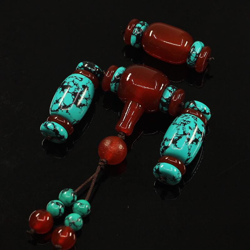 小金刚星月菩提配饰套装套餐文玩装饰配件组合四件套三通佛头顶珠