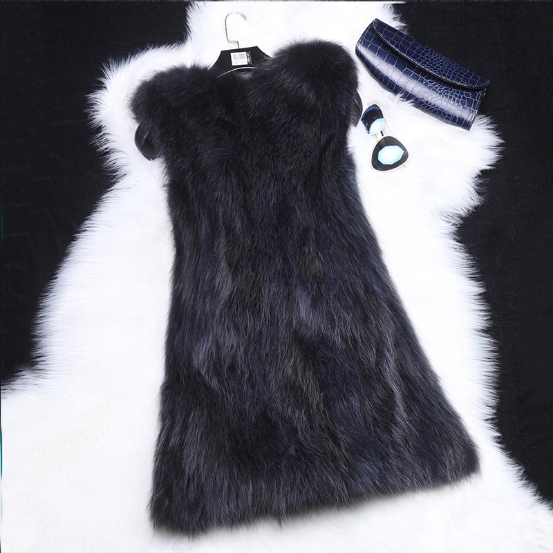 Fur vest womens long autumn and winter fox fur coat raccoon fur one-piece vest