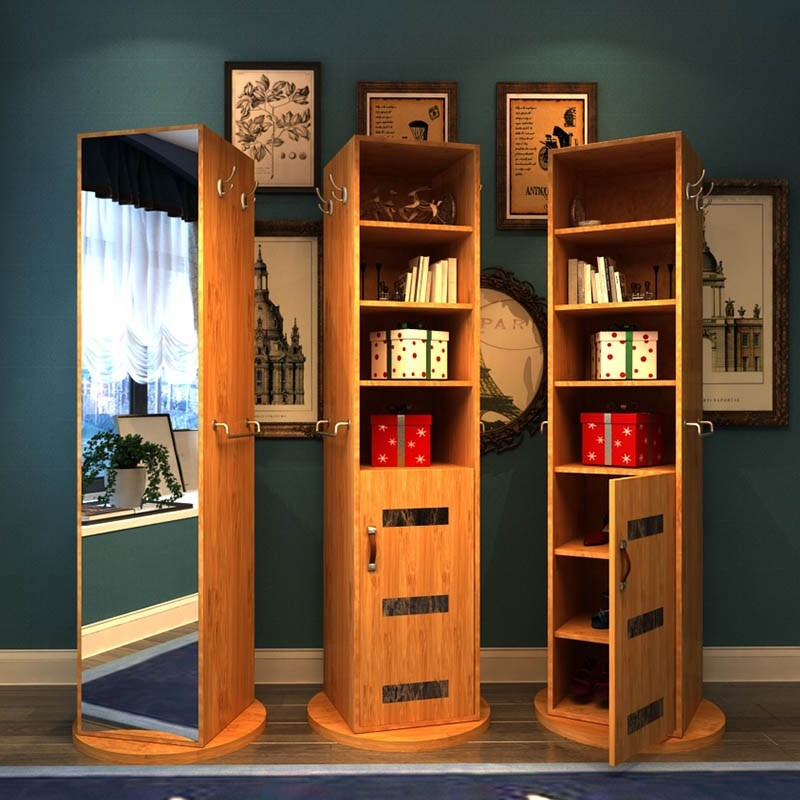 穿衣镜旋转鞋柜一体全身试衣镜北欧式储物穿衣镜落地实用书柜鞋柜买三送一