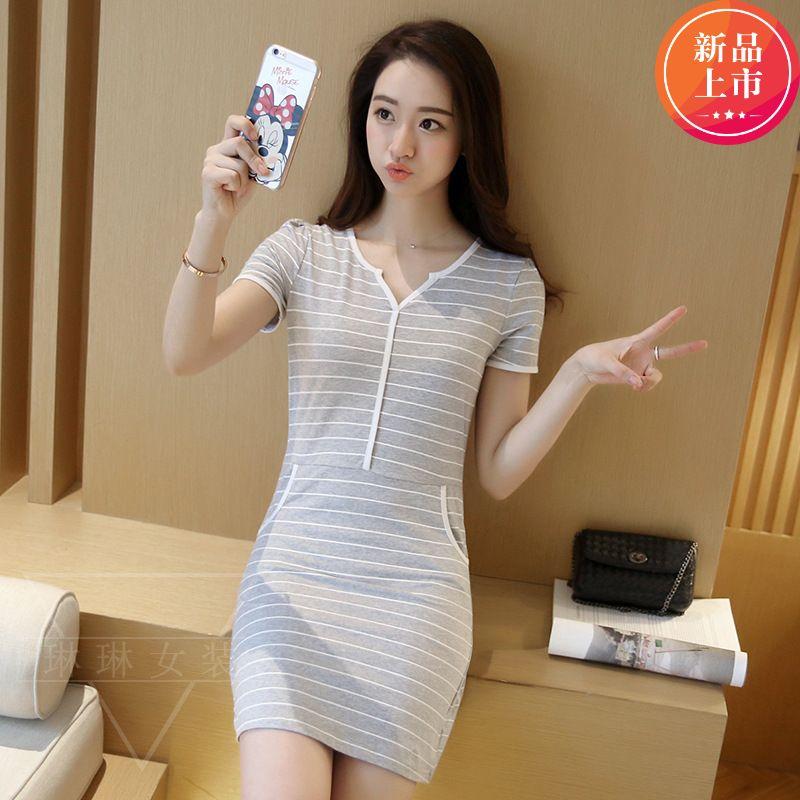 条纹夏季v领连衣裙新品时尚甜美百搭显瘦包臀短袖中长款