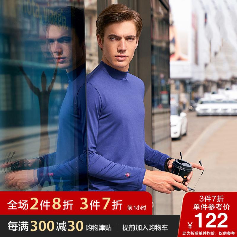 布先生2019新款长袖t恤 半高领纯色休闲衣服体恤衫上衣 BT10627122