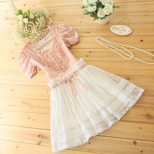 Korea elegant beading genuine wood ear Mimi Angel House summer new women lace dress