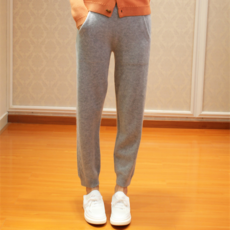 Autumn and winter new twist flower cashmere pants womens slim knit pants wear casual thickened pants high waist elastic Leggings