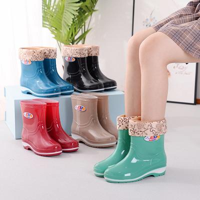 四季雨鞋女短筒成人加绒雨靴时尚防水鞋女士防滑中筒胶鞋套鞋保暖