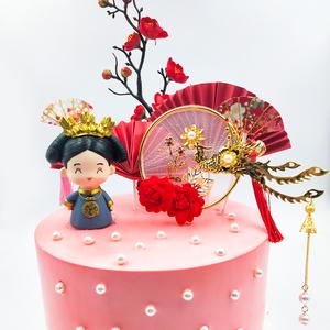 烘焙蛋糕装饰皇后摆件中式复古风凤凰于飞铁艺插件婚礼甜品台装扮
